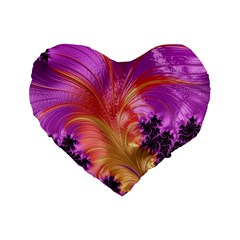 Fractal Puffy Feather Art Artwork Standard 16  Premium Flano Heart Shape Cushions