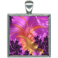 Fractal Puffy Feather Art Artwork Square Necklace by Pakrebo
