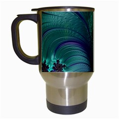 Fractal Turquoise Feather Swirl Travel Mugs (white)