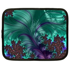 Fractal Turquoise Feather Swirl Netbook Case (large)