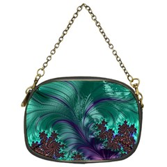Fractal Turquoise Feather Swirl Chain Purse (one Side)
