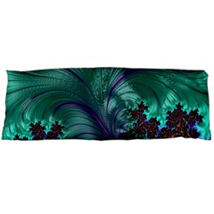 Fractal Turquoise Feather Swirl Body Pillow Case (dakimakura) by Pakrebo