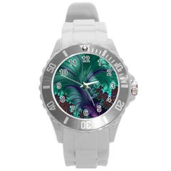 Fractal Turquoise Feather Swirl Round Plastic Sport Watch (l)