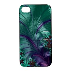 Fractal Turquoise Feather Swirl Apple Iphone 4/4s Hardshell Case With Stand