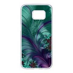 Fractal Turquoise Feather Swirl Samsung Galaxy S7 Edge White Seamless Case