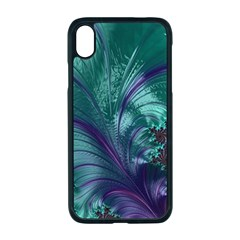 Fractal Turquoise Feather Swirl Apple Iphone Xr Seamless Case (black)