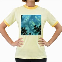 Fractal Art Feather Swirls Puffy Women s Fitted Ringer T Shirt