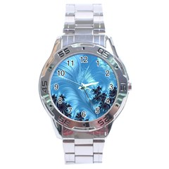 Fractal Art Feather Swirls Puffy Stainless Steel Analogue Watch