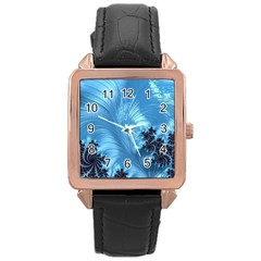 Fractal Art Feather Swirls Puffy Rose Gold Leather Watch