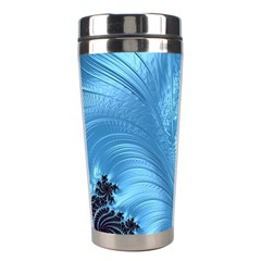 Fractal Art Feather Swirls Puffy Stainless Steel Travel Tumblers