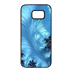 Fractal Art Feather Swirls Puffy Samsung Galaxy S7 Edge Black Seamless Case by Pakrebo