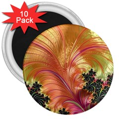 Fractal Feather Artwork Art 3  Magnets (10 Pack)