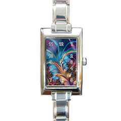 Fractal Art Artwork Psychedelic Rectangle Italian Charm Watch