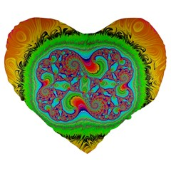 Fractal Art Design Fantasy Light Large 19  Premium Heart Shape Cushions