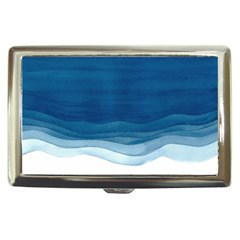 Blue Watercolor Waves Cigarette Money Case by goljakoff