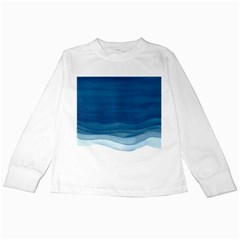 Blue Watercolor Waves Kids Long Sleeve T Shirts by goljakoff