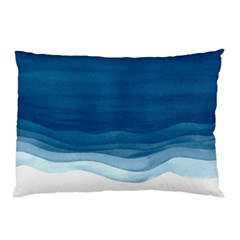 Blue Watercolor Waves Pillow Case by goljakoff