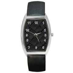 Diagonal Square Black Background Barrel Style Metal Watch