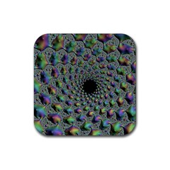 Fractal Rainbow Art Artwork Design Rubber Coaster (square)