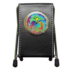 Fractal Art Psychedelic Fantasy Pen Holder Desk Clock