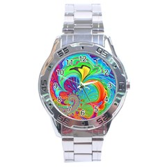 Fractal Art Psychedelic Fantasy Stainless Steel Analogue Watch