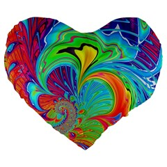 Fractal Art Psychedelic Fantasy Large 19  Premium Flano Heart Shape Cushions by Pakrebo