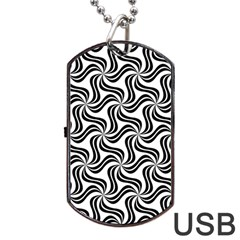 Soft Pattern Repeat Monochrome Dog Tag Usb Flash (two Sides)