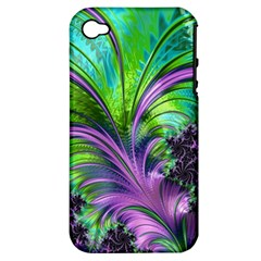 Fractal Art Artwork Feather Swirl Apple Iphone 4/4s Hardshell Case (pc+silicone)