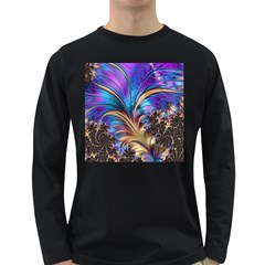 Fractal Feather Swirl Purple Blue Long Sleeve Dark T Shirt