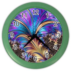Fractal Feather Swirl Purple Blue Color Wall Clock