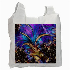 Fractal Feather Swirl Purple Blue Recycle Bag (one Side) by Pakrebo