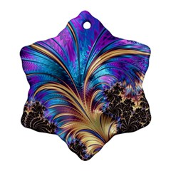 Fractal Feather Swirl Purple Blue Snowflake Ornament (two Sides)
