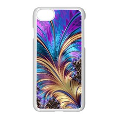 Fractal Feather Swirl Purple Blue Apple Iphone 7 Seamless Case (white) by Pakrebo