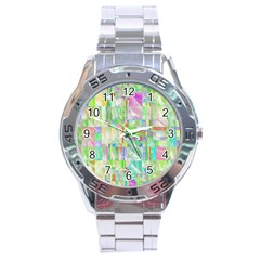Pastel Quilt Background Texture Stainless Steel Analogue Watch by Pakrebo