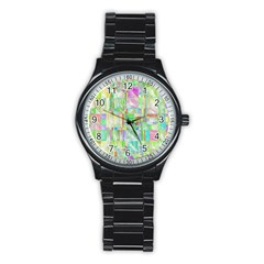 Pastel Quilt Background Texture Stainless Steel Round Watch