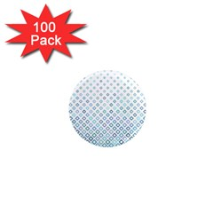 Square Pattern Geometric Blue 1  Mini Magnets (100 Pack)