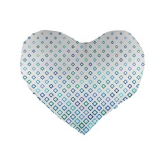 Square Pattern Geometric Blue Standard 16  Premium Heart Shape Cushions