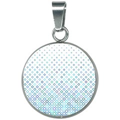 Square Pattern Geometric Blue 20mm Round Necklace
