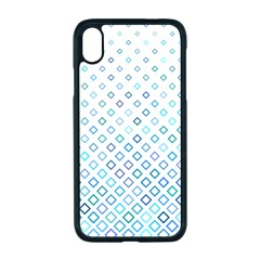 Square Pattern Geometric Blue Apple Iphone Xr Seamless Case (black)