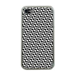 White Line Wave Black Pattern Apple Iphone 4 Case (clear)
