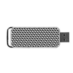 White Line Wave Black Pattern Portable Usb Flash (one Side)