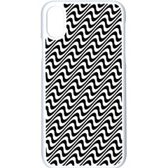 White Line Wave Black Pattern Apple Iphone Xs Seamless Case (white)