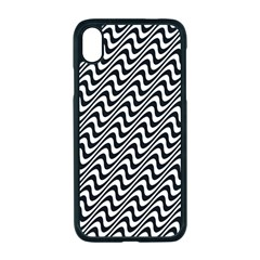 White Line Wave Black Pattern Apple Iphone Xr Seamless Case (black)