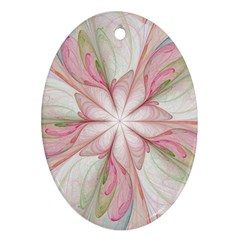 Pink Blue Flower Blossom Rose Ornament (oval)