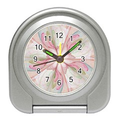 Pink Blue Flower Blossom Rose Travel Alarm Clock