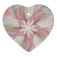 Pink Blue Flower Blossom Rose Heart Ornament (two Sides) by Pakrebo