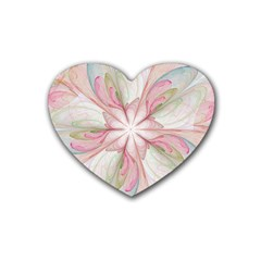 Pink Blue Flower Blossom Rose Heart Coaster (4 Pack)
