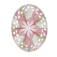 Pink Blue Flower Blossom Rose Oval Filigree Ornament (two Sides)