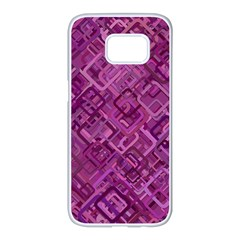 Purple Pattern Background Samsung Galaxy S7 Edge White Seamless Case