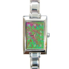 Fractal Art Neon Green Pink Rectangle Italian Charm Watch